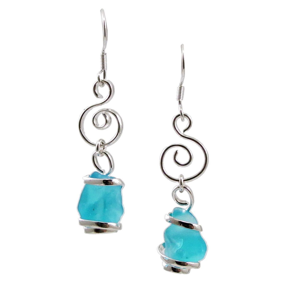 Sea Glass Hand-crafted Wire Wrapped Swirl Drop Earrings in Capri ...