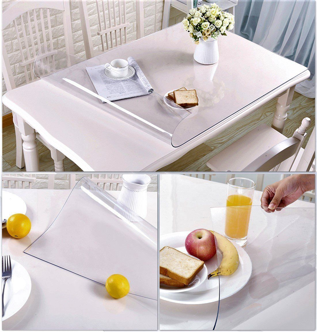 Clear Plastic Tablecloth Dining Coffee Table Tabletop Protector Cover Protection Pad Eco Thicken Protective Desk Mat Waterproof Wipeable Kitchen