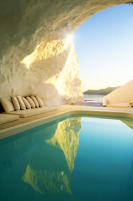 Santorini, Greece - Cave Pool Come see the world with me. I have all these airline miles and nobody to share them with ;)