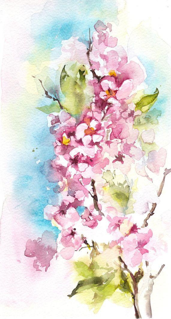 Original Watercolor Painting of Pink Blossoms Floral by CanotStop
