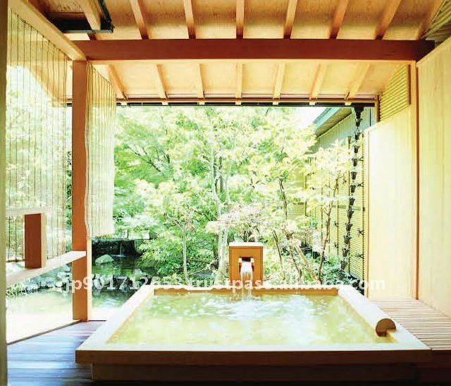 Out Door Hinoki Bath Kiso Japanese Bath Wooden Bathtub