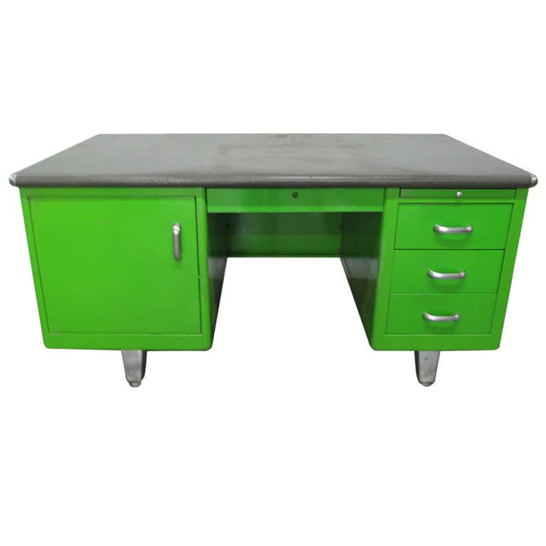 1950s Industrial Green Desk | Desks, Green desk and Tables