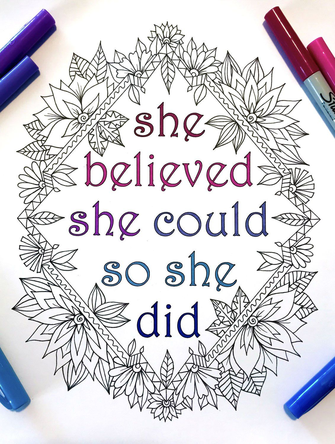She Believed She Could So She Did Inspiring Quote With Flowers