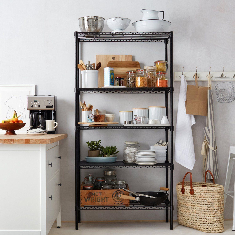 Amazon Com Amazonbasics 5 Shelf Shelving Unit Black Home Amp Kitchen Apartment Kitchen Storage Ideas Metal Kitchen Shelves Kitchen Storage Shelves