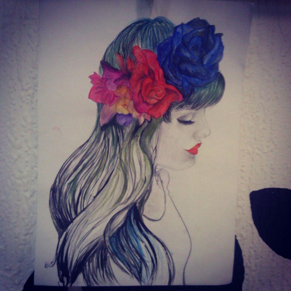Dibujo a lpices de colores y acuarelas de una chica con una