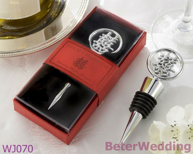 Wj070 Chinese Double Hiness Design Wine Stoppers Traditional Wedding Gifts Useful