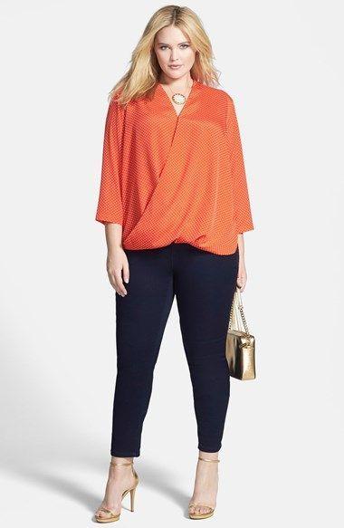 826a9deee Blusa cruzada color naranja | blusas y más... | Blusas para gorditas ...