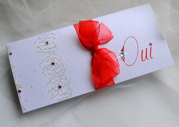 Carte d'invitation mariage rouge et blanc
