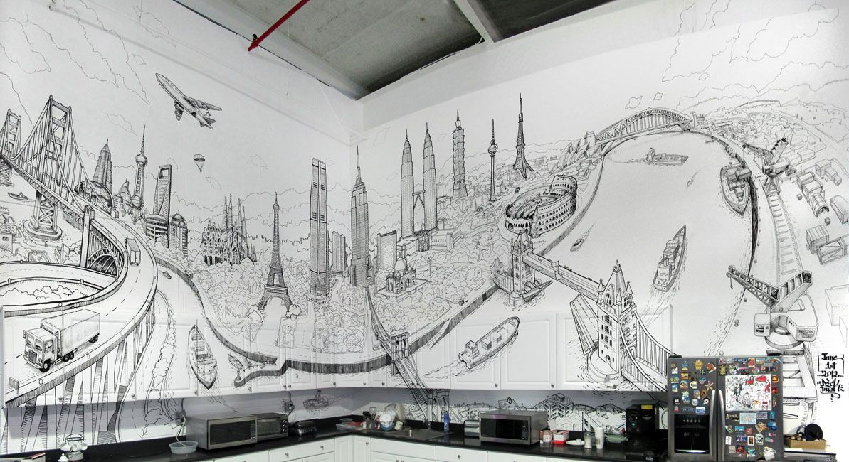 impressive hand drawn mural combining landmarks from With best brand of paint for kitchen cabinets with new york cityscape wall art