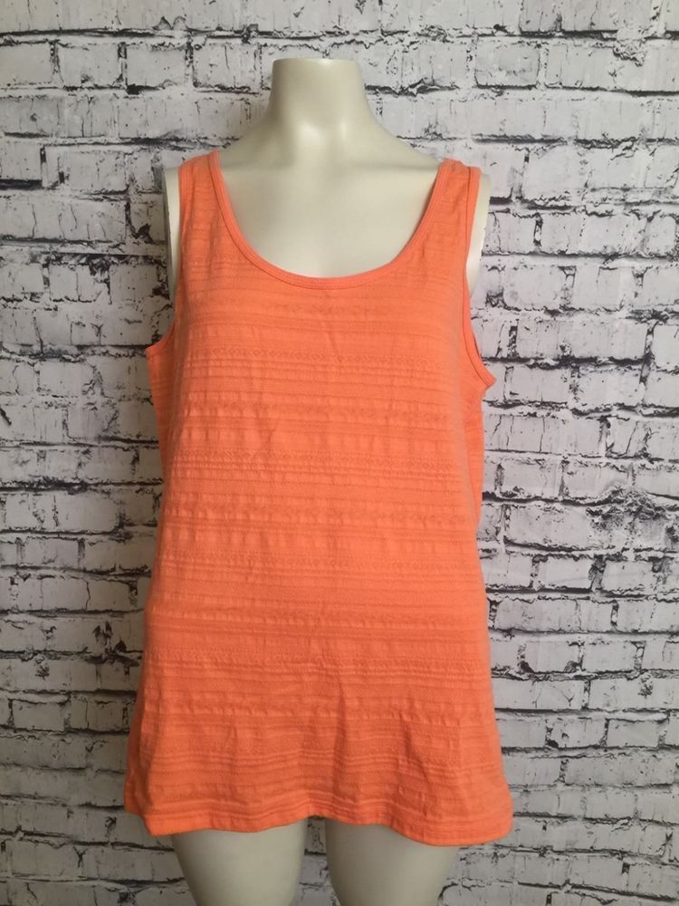 131bbf7b125 Women Faded Glory Plus Size Light Orange Pink Sleeveless Shirt Tank Top XXL  20  FadedGlory  TankTop  Casual
