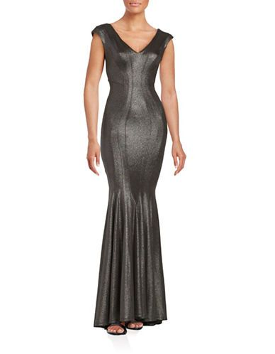 Betsy & Adam Metallic Mermaid Gown Women's Black/Silver 12