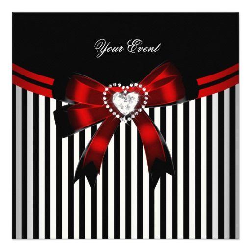 Elegant Red Black White Stripe Birthday Party Invitation Zazzle Com In 2021 Black And Red Bow Wallpaper Elegant Red