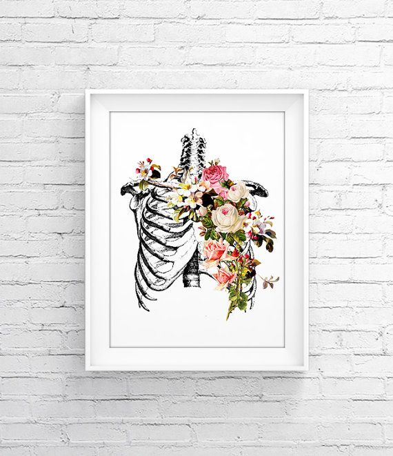 SKELETON   FLOWERS Anatomy Print   Wall Decor, Art Poster, Wall Art, Home.  Doctors Office DecorMedical ...