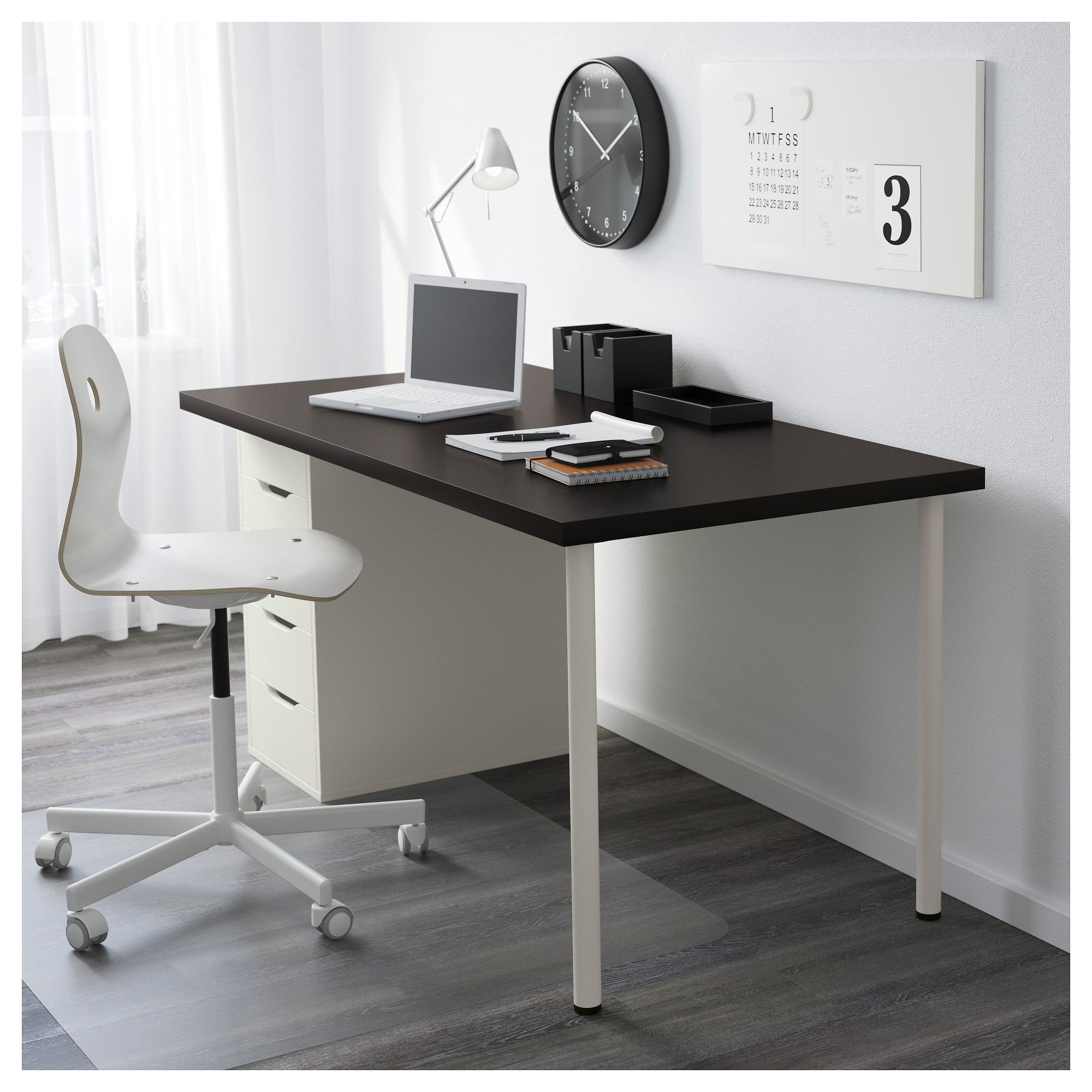 Linnmon Alex Table Black Brown White 59x29 1 2 Ikea Cheap Office Furniture Drawer Unit Ikea