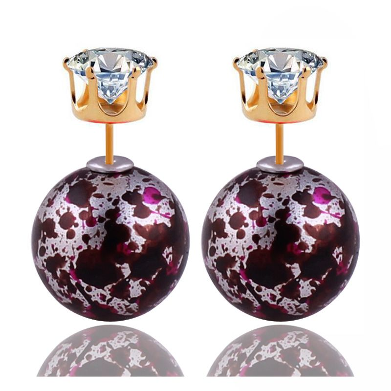 9 Colors New Fashion Shining Big Ball Gold Crown Crystal Double Pearl Earrings Bohemia Double Side Beads Stud Earrings For Women