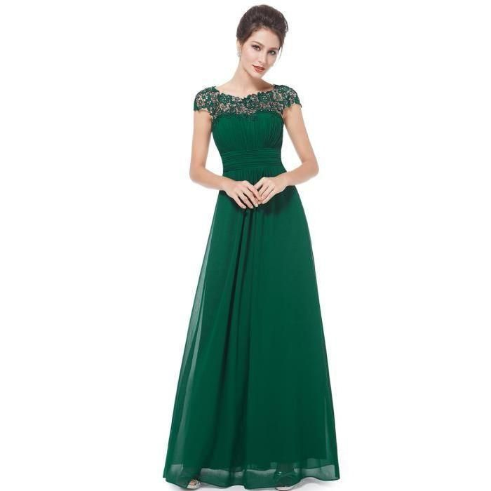 Robe longue cocktail verte