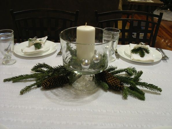 Christmas centerpieces in a punch bowl decorations for the