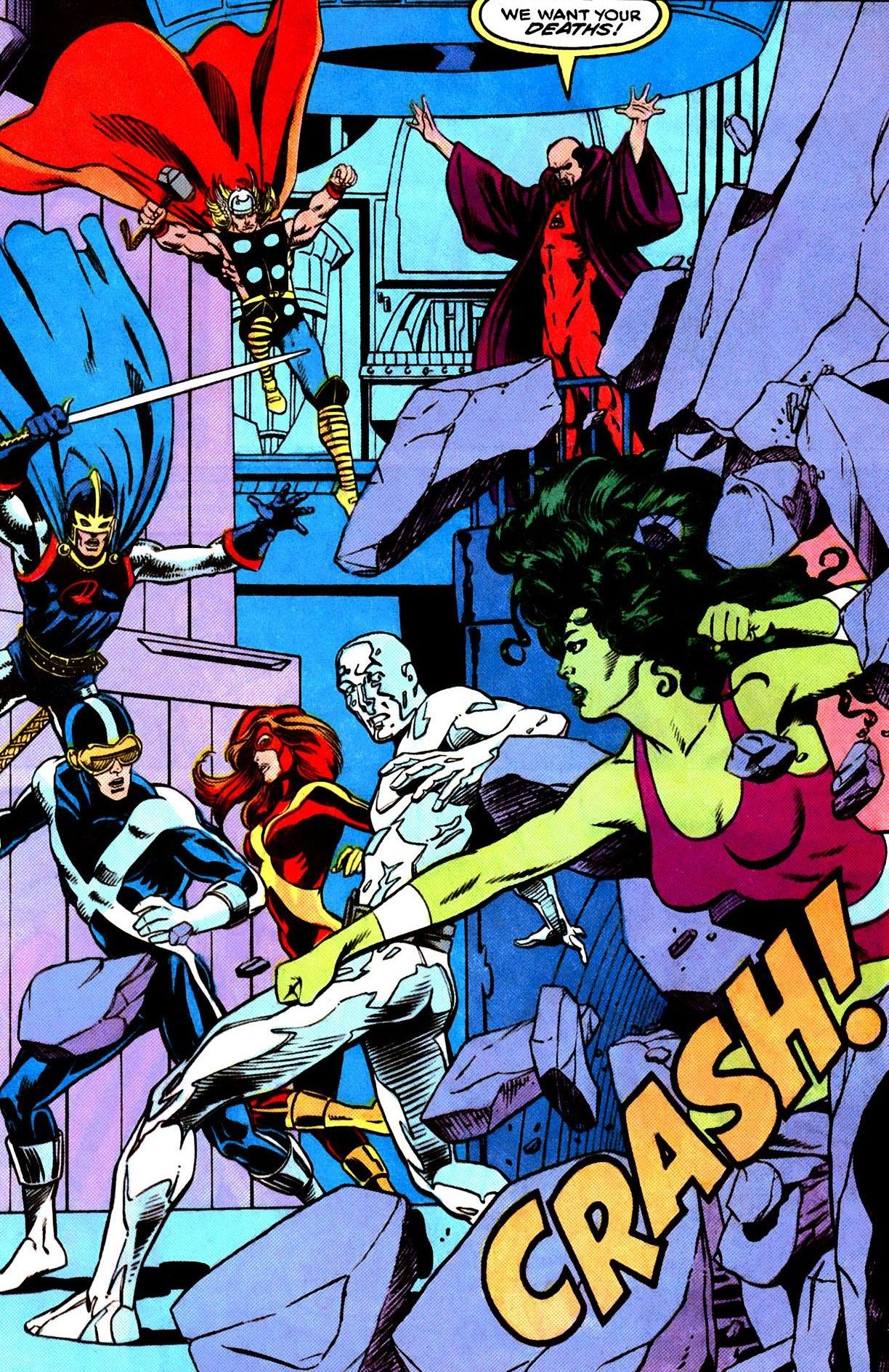 X Men Vs The Avengers From X Factor 32 By Steve Lightle We Want Your Deaths Marvel Superheroes Superhero Villains Comic Book Heroes