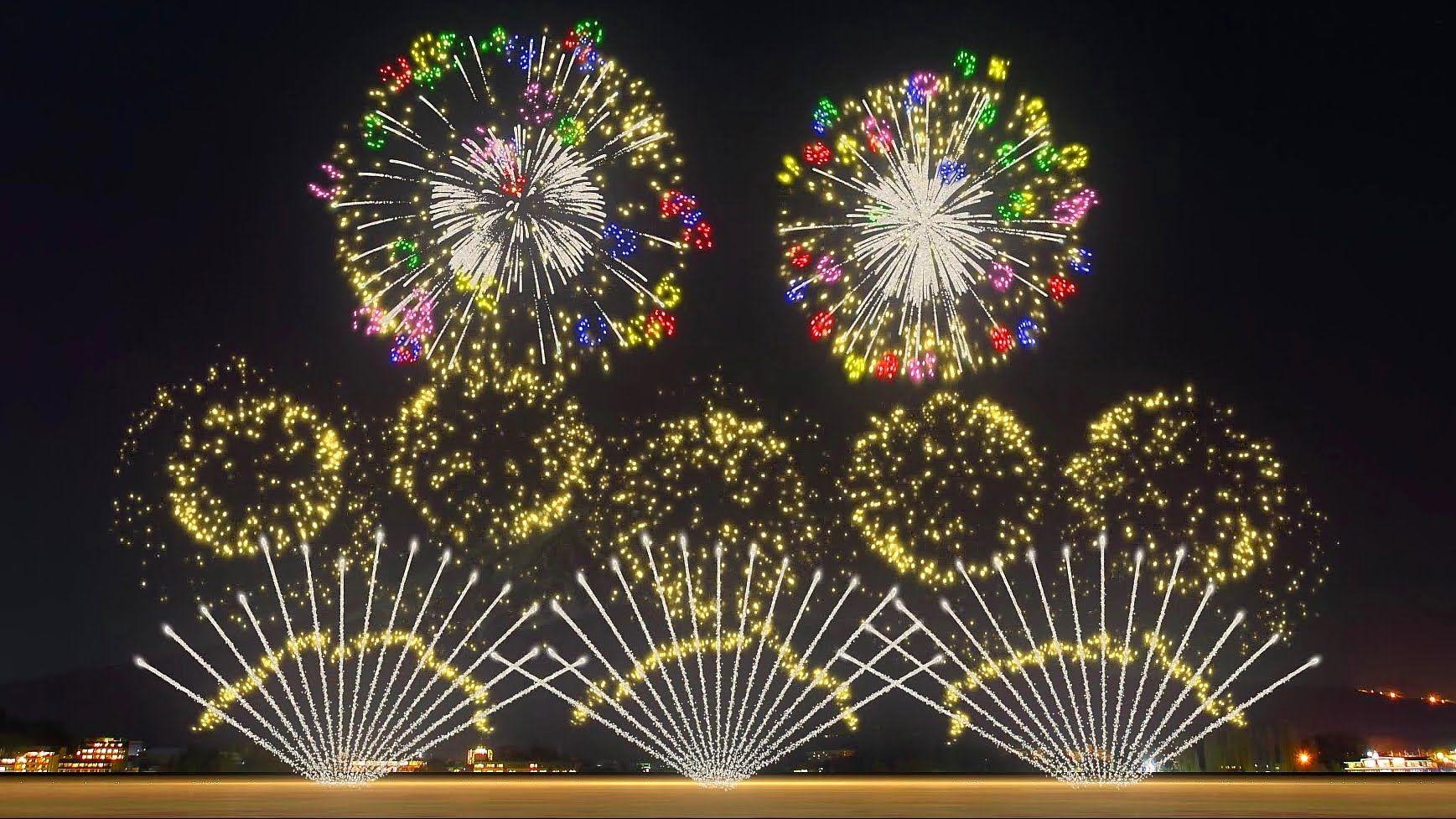 FWsim Mount Fuji Synchronized Fireworks Show... truly magnificeint ...