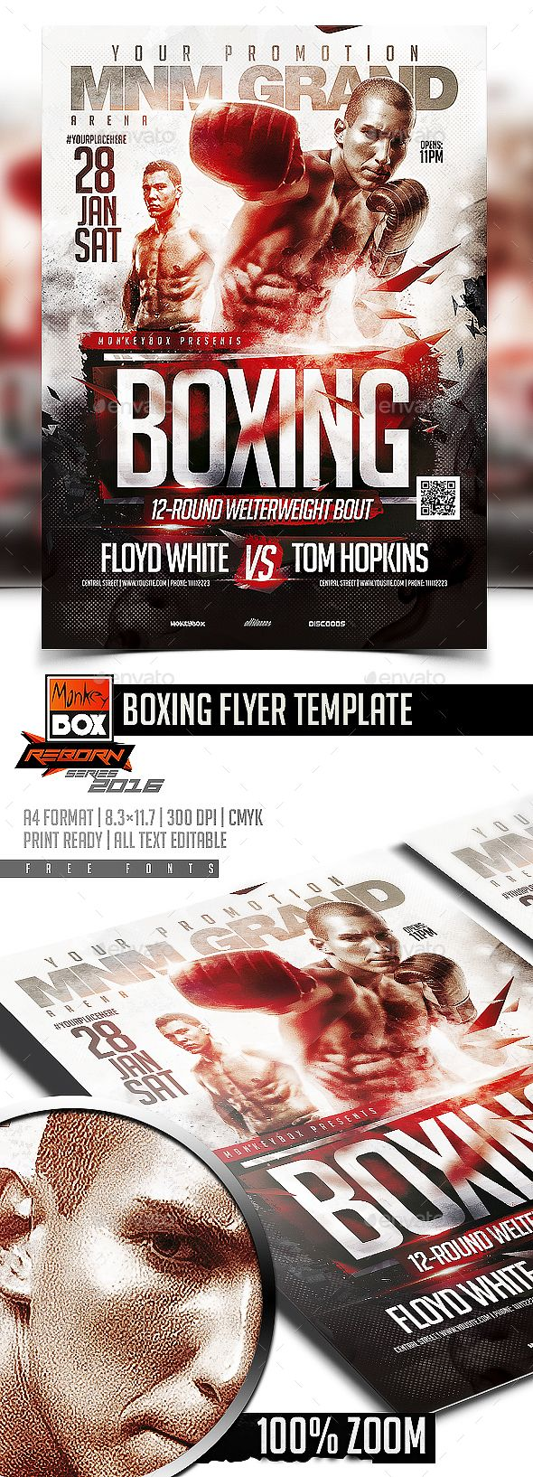 Boxing Flyer Template | Pinterest | Flyer template, Template and Fonts