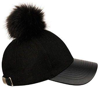 8fe1971458a Faux Fur Pom Baseball Cap (Black Black)