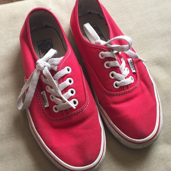 Red lace up vans Red lace up vans just making room in my closet need to be cleaned and they will look in great condition sit ion Vans Shoes Sneakers