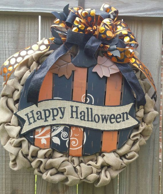 Hey, I found this really awesome Etsy listing at https://www.etsy.com/listing/251750165/burlap-halloween-wreath-with-wooden-slat