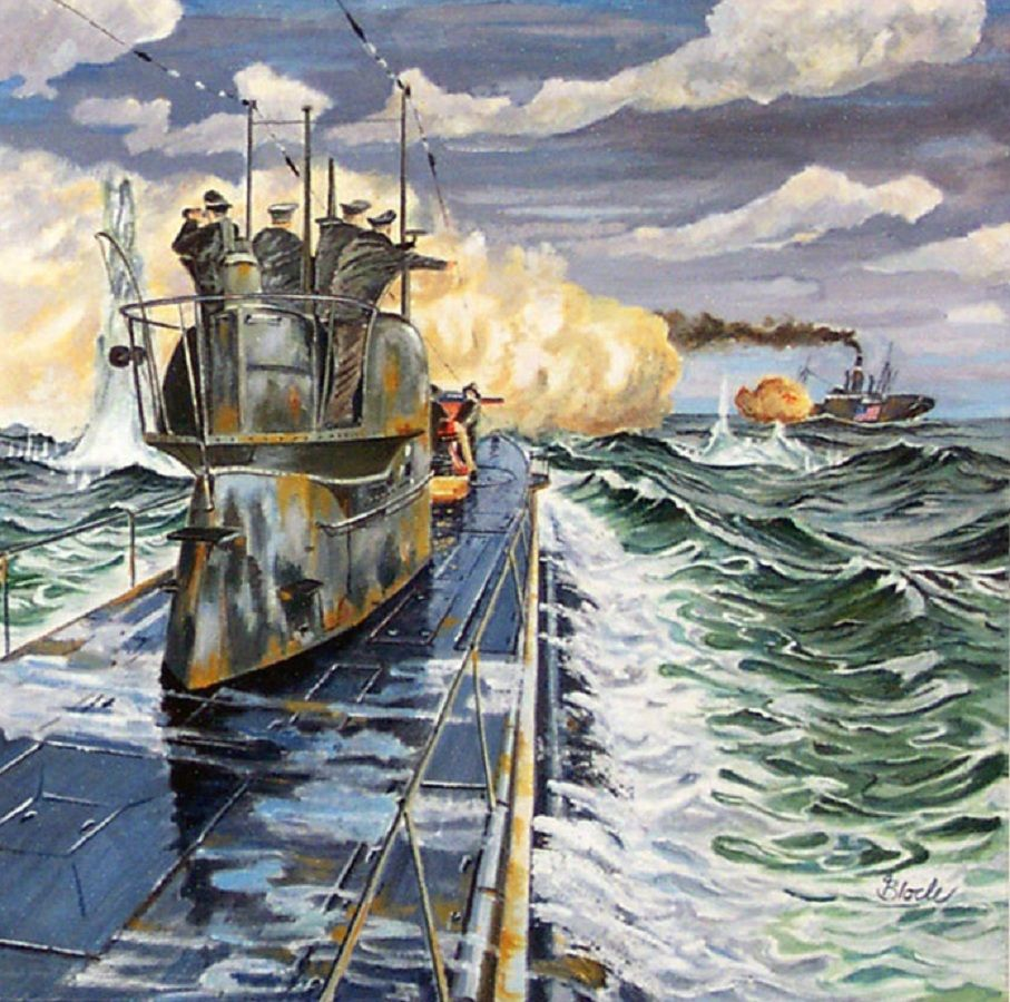 German U-53 attacking an American Merchantman   World War ...