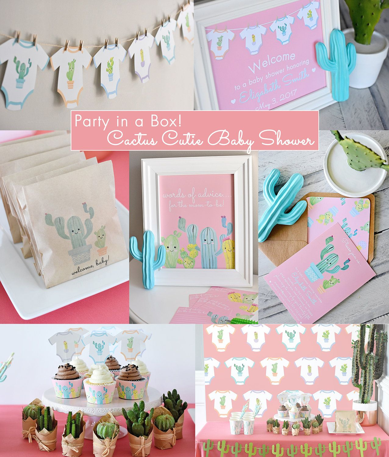 Cactus Cutie Baby Shower Complete Party In A Box   Printable PDF Digital  Files, Kawaii