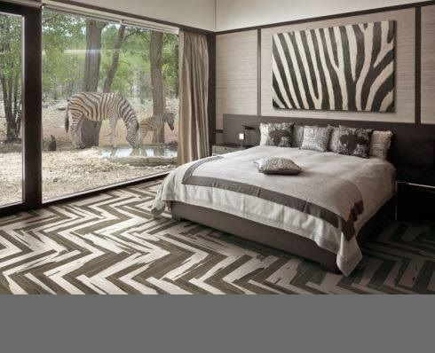 Elegant Herringbone Tile Pattern In The Bedroom Floor Zebra