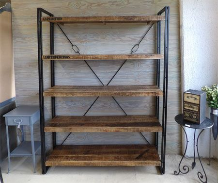 etagere industrielle bois metal. Black Bedroom Furniture Sets. Home Design Ideas