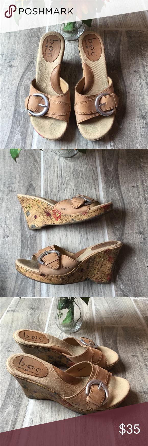 BORN Slide In Tan Wedge Sandals Sz 7 Adorable Born Wedge