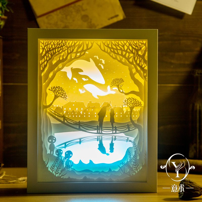 Kingneonlux Light And Shadow Paper Carved Lights Meet Diy Hand 3d Lights Creative Gift Table Lamp Bedroom Night Light Paper Carving 3d Paper Art Night Light