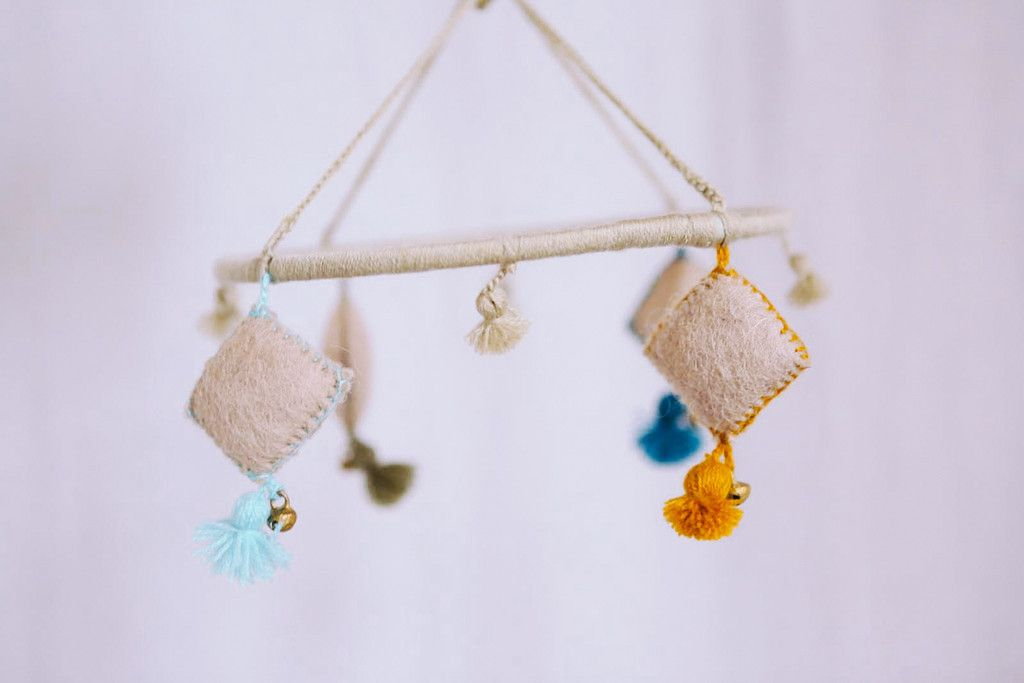 blue mobile - nepalese wool felt charms + tassels - pin by xjc