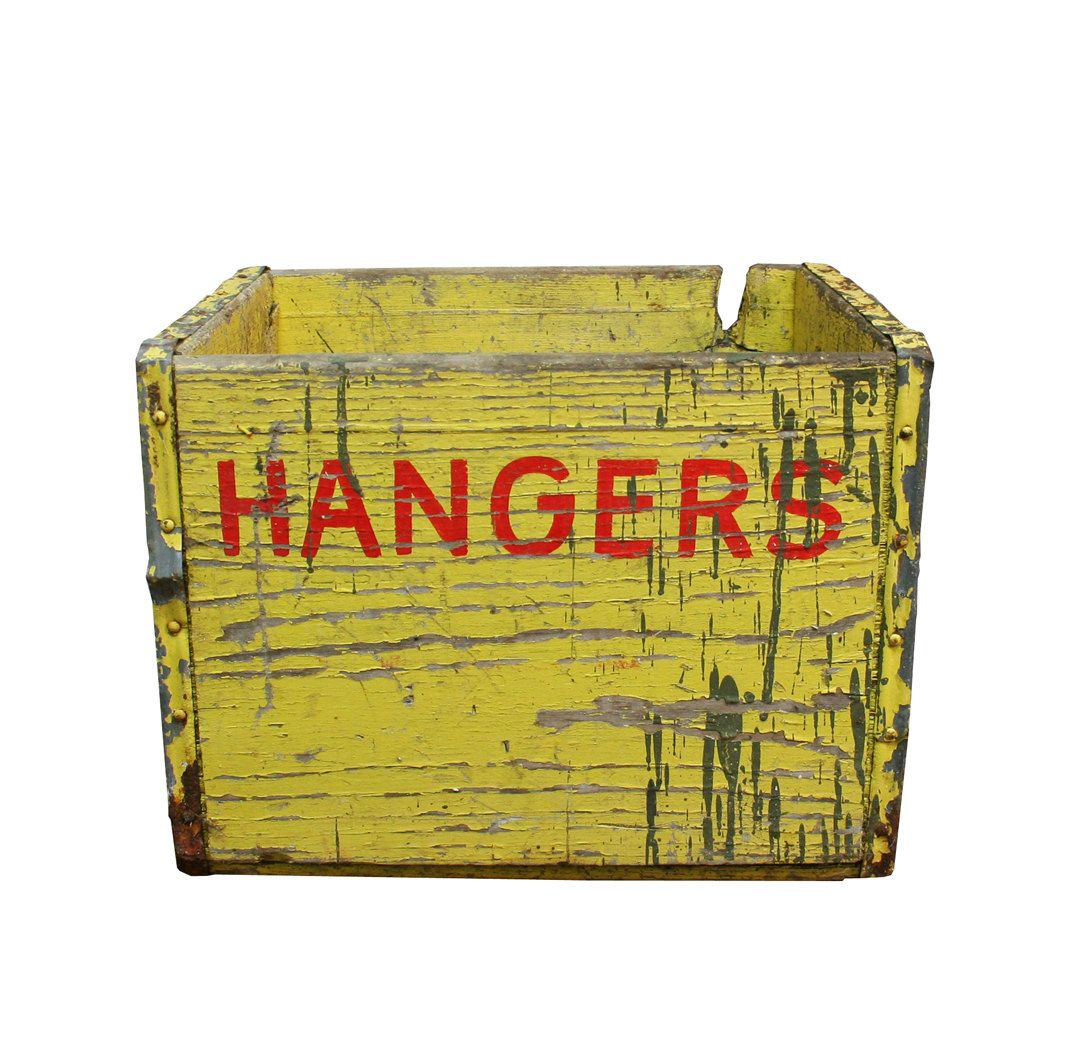 Vintage Industrial Yellow Wooden Crate marked Hangers to place art ...