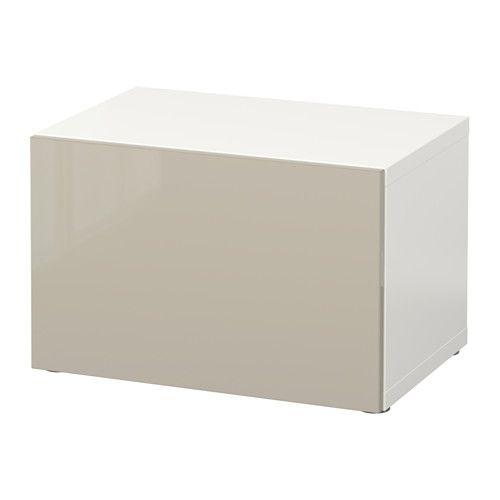BESTÅ Estante c/porta - branco/Selsviken brilhante/bege - IKEA