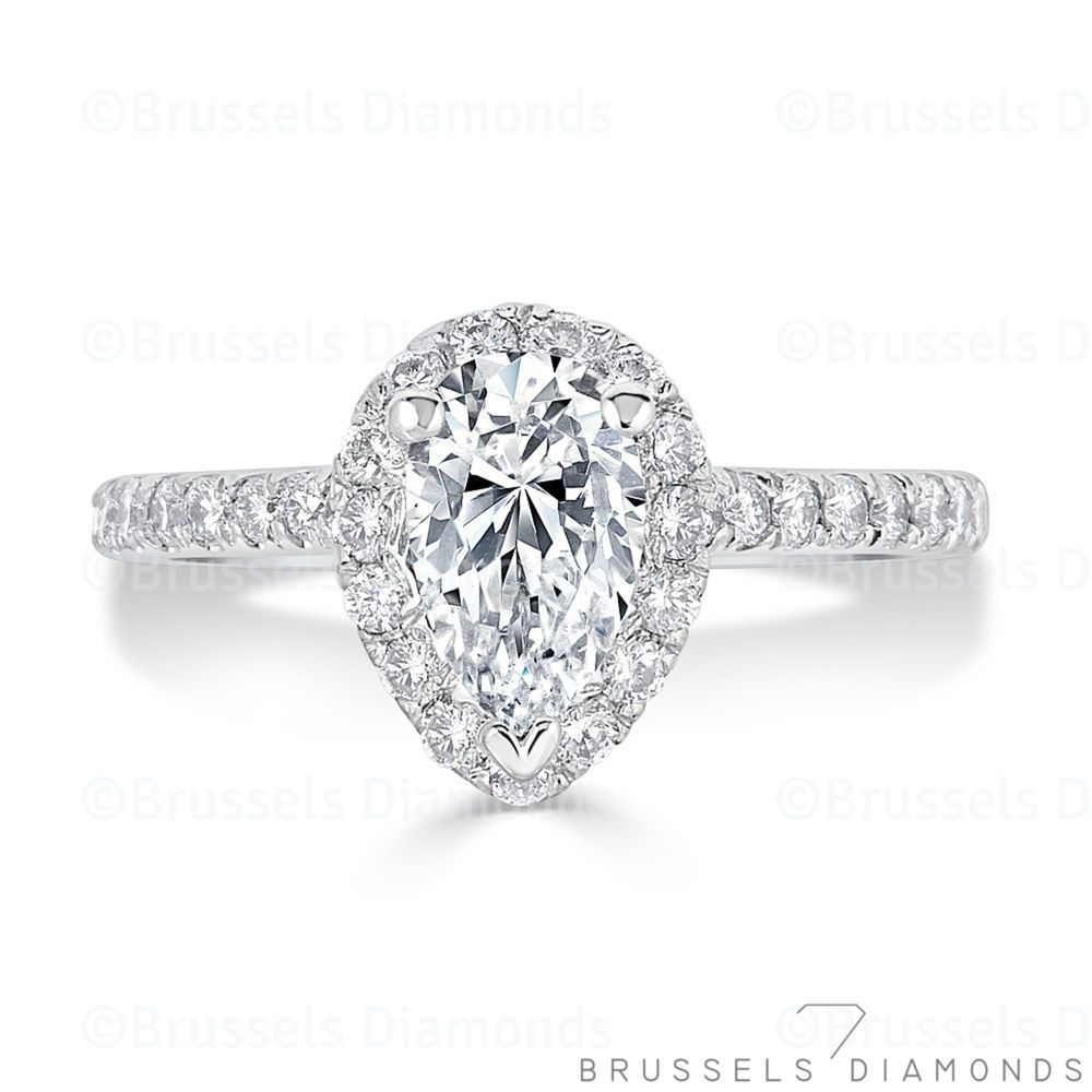 carat natural pear diamond engagement ring halo hsi solid k
