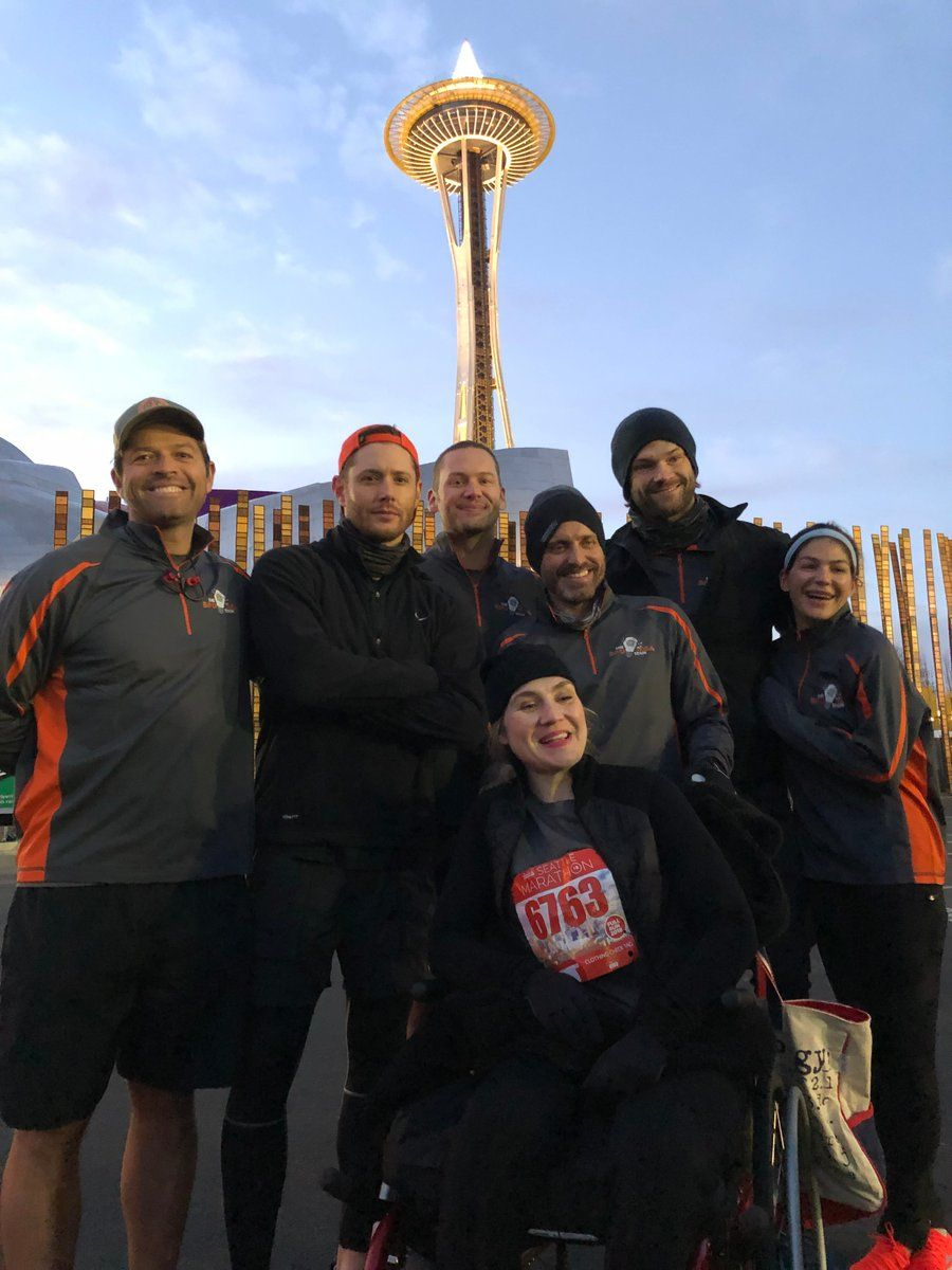 Us at the start of the Amica SeattleMarathon