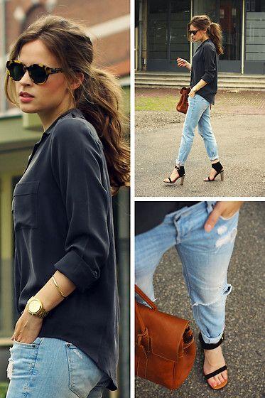 Filippa K Silk Shirt, Céline Sandals, Mulberry Bayswater Bag, Karen Walker Sunglasses
