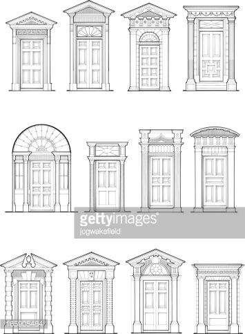 Georgian Door Details Vector Art Abstract Architectural Column Feature Architecture Architrave