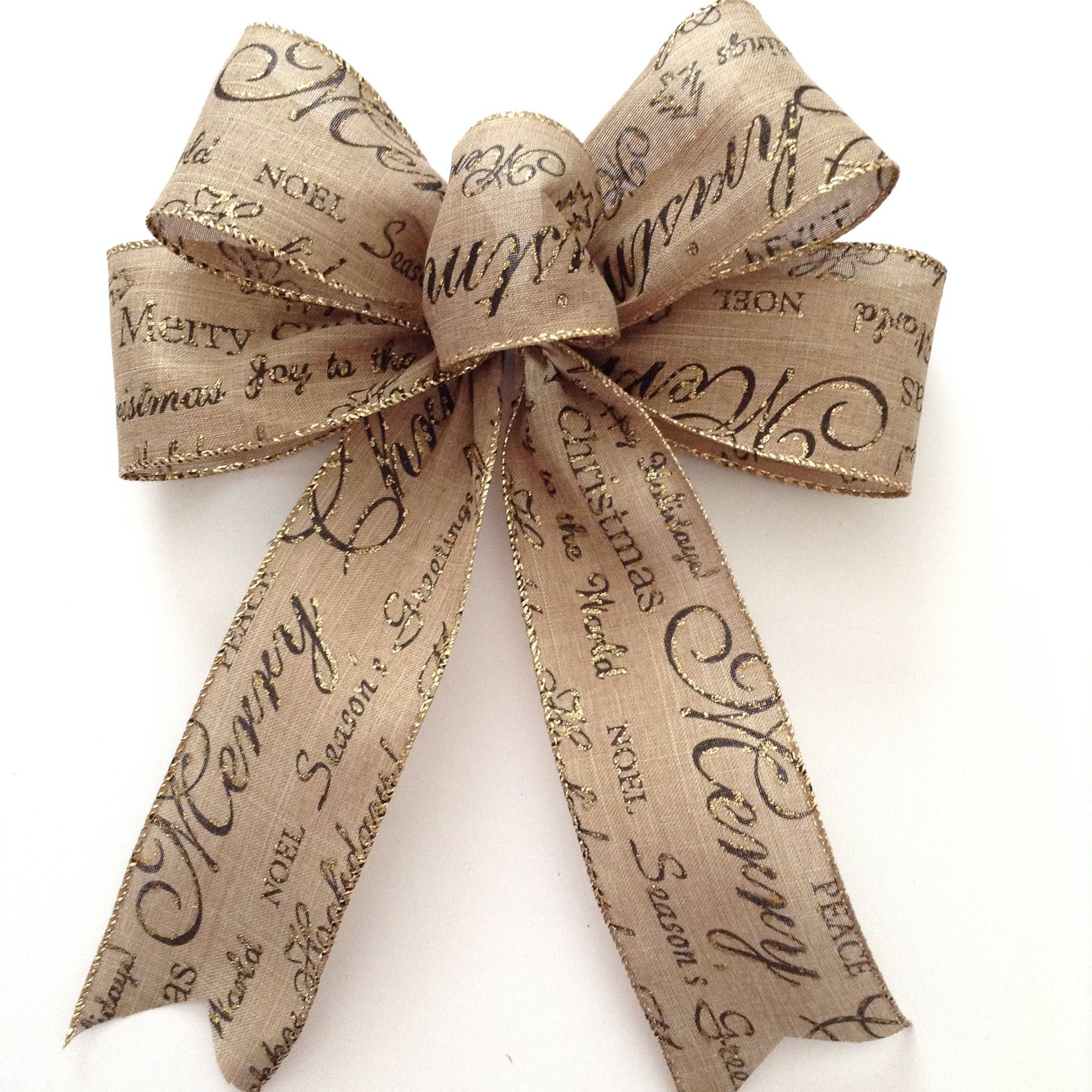 christmas tree bows burlap natural xmas bows christmas decorative bows xmas tree - Christmas Decorations Bows