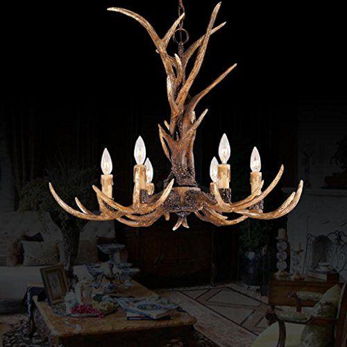 EFFORTINC Vintage Style Resin Antler Chandelier 6 Lights,Living  Room,Bar,Cafe,