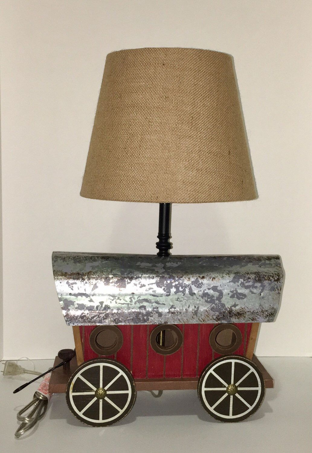 Wagon Lamp with lampshade by SandrasBleakToChic on Etsy