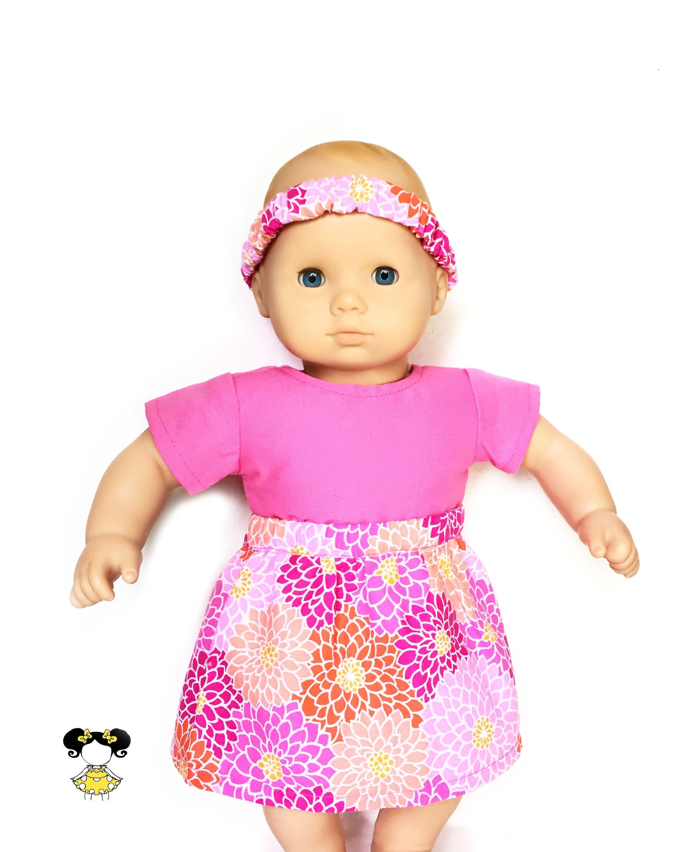 Flare Skirt Flowers Headband Pink Orange White Fits dolls such