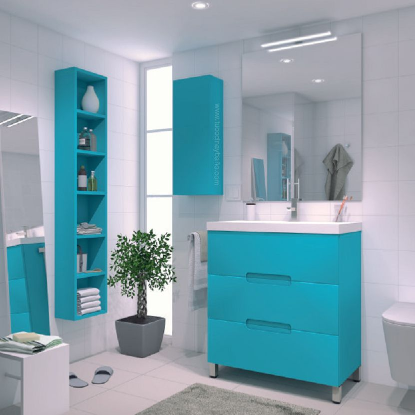 Mueble ovalix laca u ero tu cocina y ba o muebles de for Pintura azul aguamarina