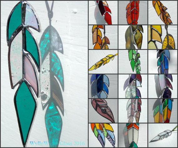 Stained Glass Feather Sun Catcher,Hanging Window Art,Native American Indian Tribal Style,Fairy,Fantasy,Choice of Colours,Ceremonial,Spirit