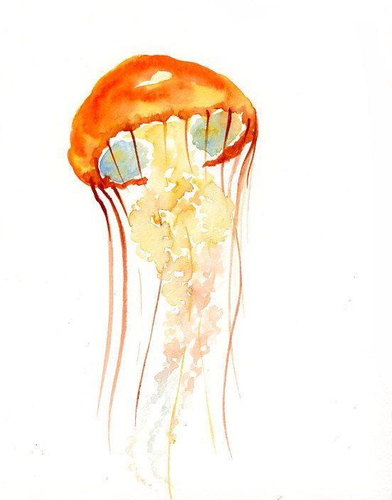 Jellyfish Original Watercolor Painting 8x10inch Vertical