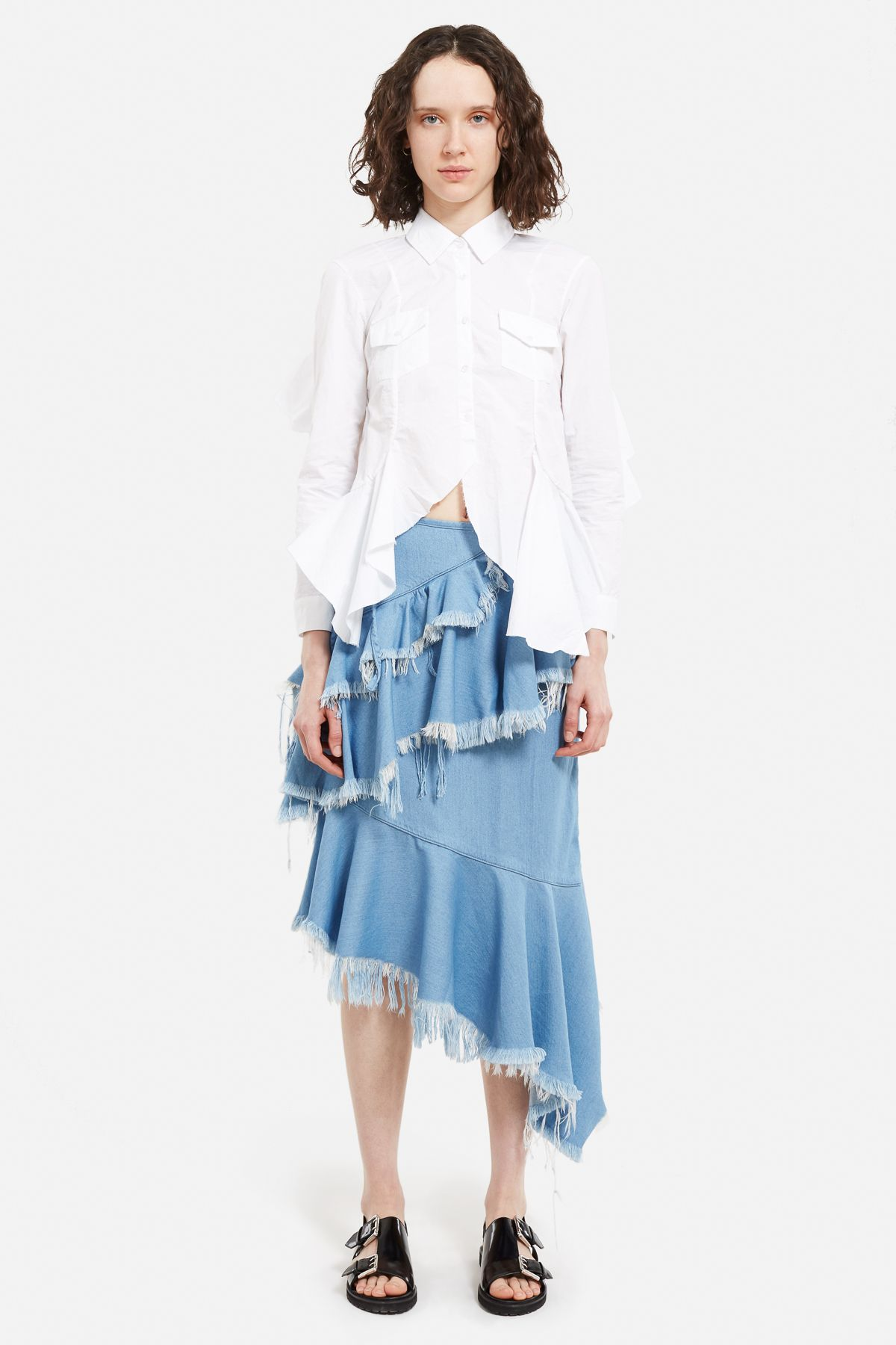 Marques Almeida Open Back Frill Shirt - WOMEN - JUST IN - Marques Almeida - OPENING CEREMONY