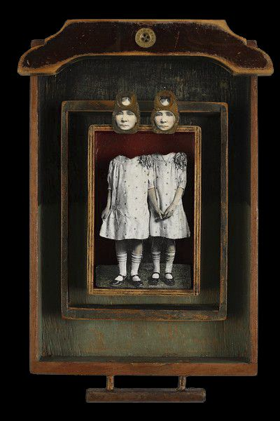7b29ab9781db The Bagley Sisters | Artist Kass Copeland | Mixed Media Assemblage - Jewelry  box drawer, vintage photos on wood cutouts, can tops, subway token