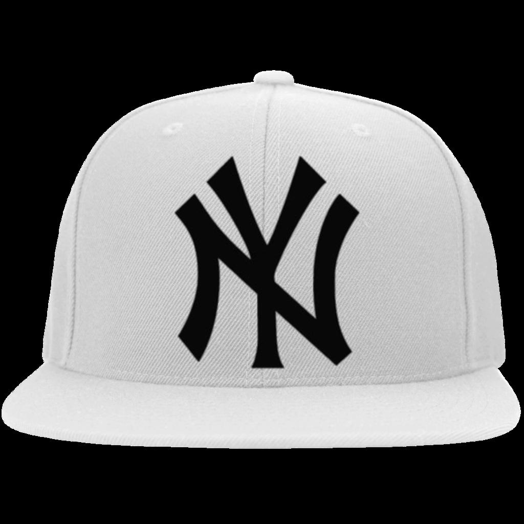 Official New York Yankees Classic Ny Logo Yupoong Flat Bill Twill Flexfit Cap New York Yankees New York Yankees Apparel Flexfit